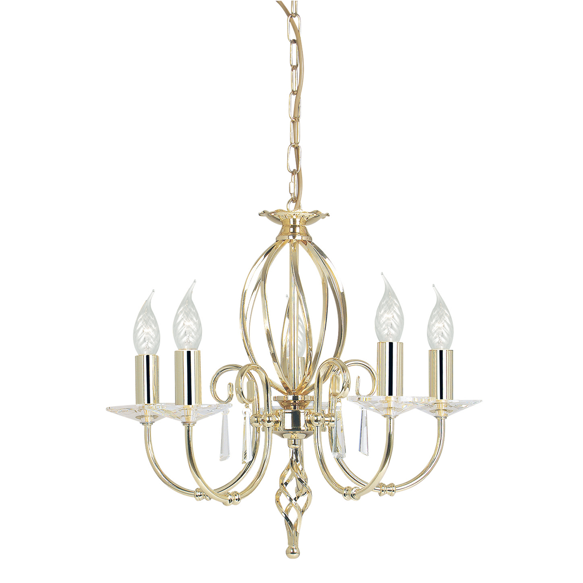 Aegean 5lt Chandelier Polished Brass