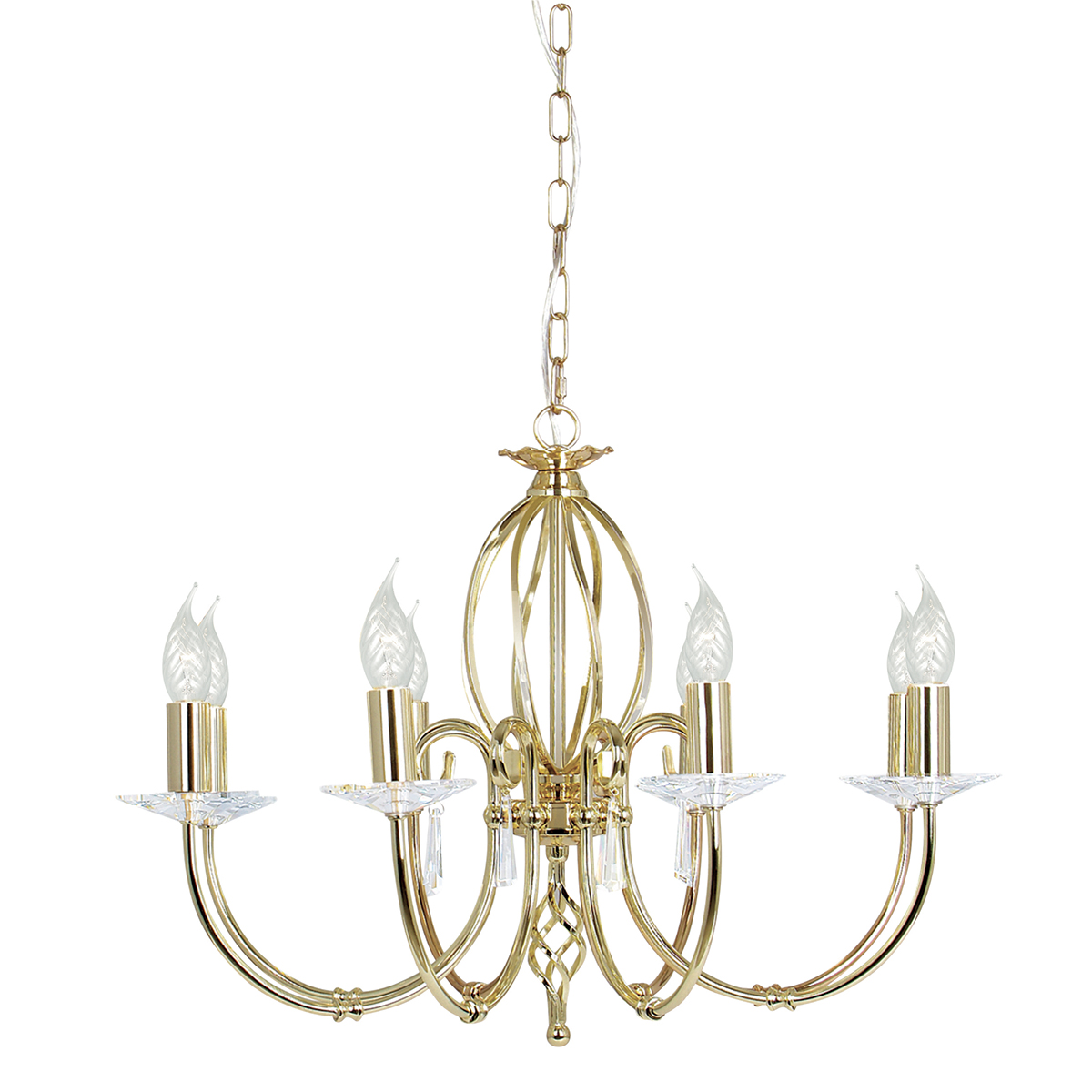 Aegean 8lt Chandelier Polished Brass
