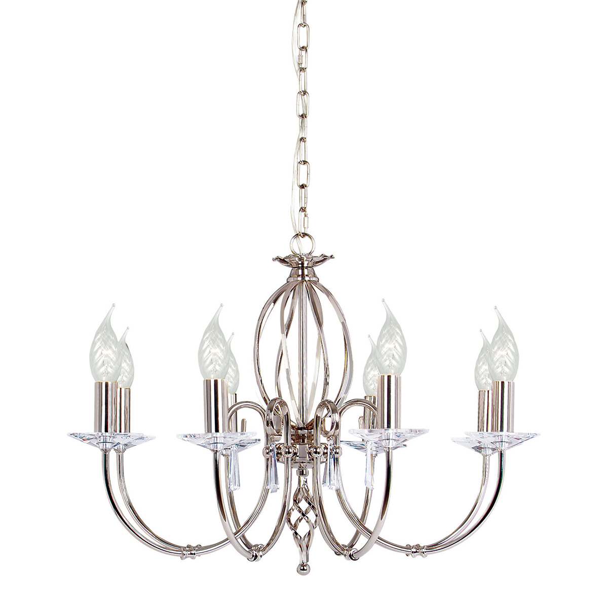 Aegean 8lt Chandelier Polished Nickel