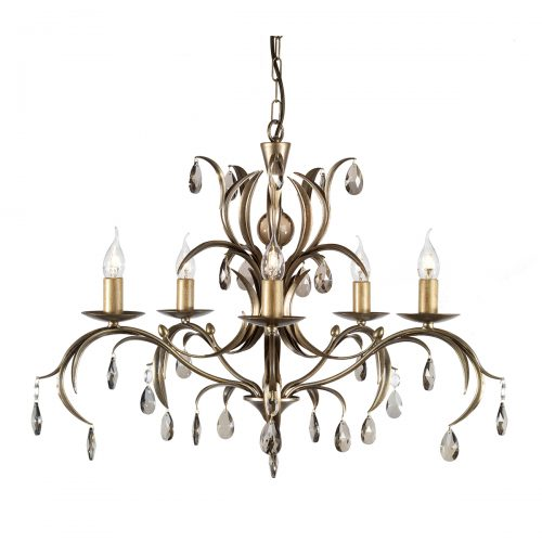 Lily 5lt Chandelier Antique Bronze