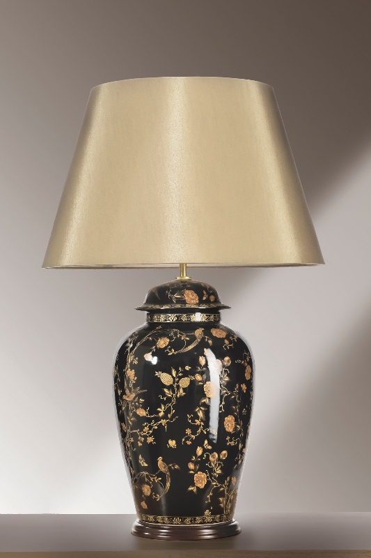 Black Birds Temple Jar Large Table Lamp