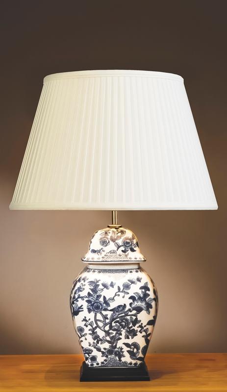 Blue/White Floral Temple Jar Lamp