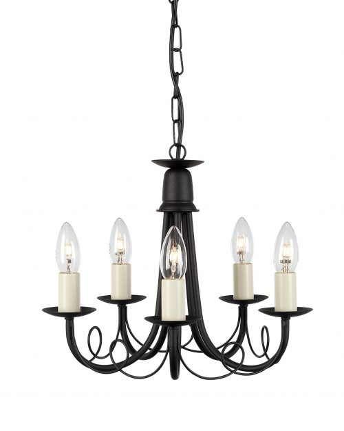 Minster 5lt Chandelier Black/Gold