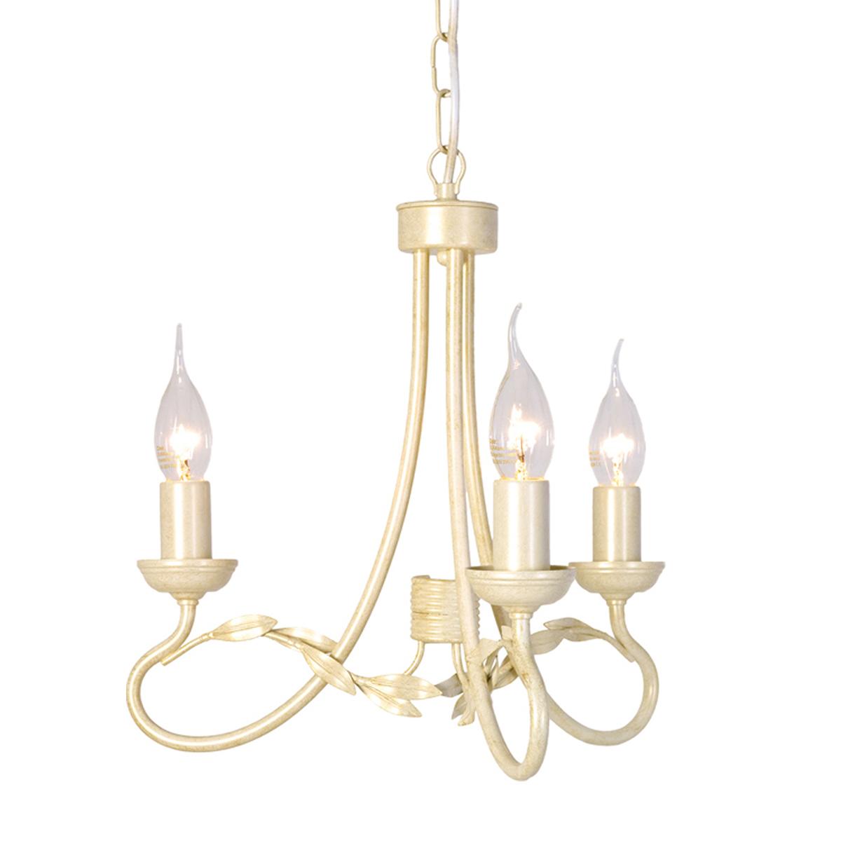Olivia 3lt Chandelier Ivory/Gold