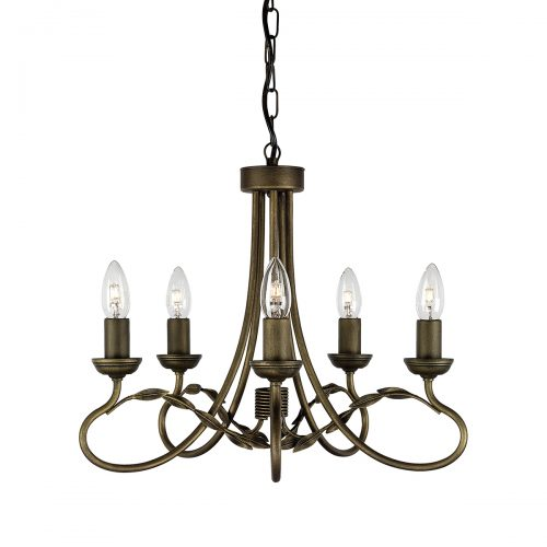Olivia 5lt Chandelier Black/Gold